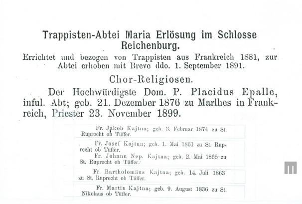 Člani družine Kajtna, ki so bili menihi v samostanu trapistov v Rajhenburgu. Hrani: MNZS.