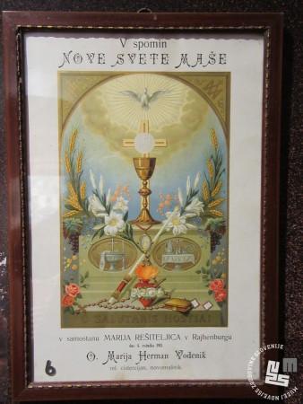 V spomin na novo sveto mašo patra Hermana Vodenika 4. junija 1911. Hrani: MNZS.