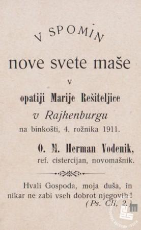 Spomin na novo sveto mašo 1911, p. Herman Vodenik. Last Nete Timer.