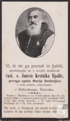 Objava o smrti opata Janeza Krstnika Epalla. Foto: neznan, hrani: MNZS.