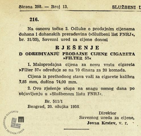UL SFRJ, št. 13, str. 298,2.4. 1958,čl. 216.