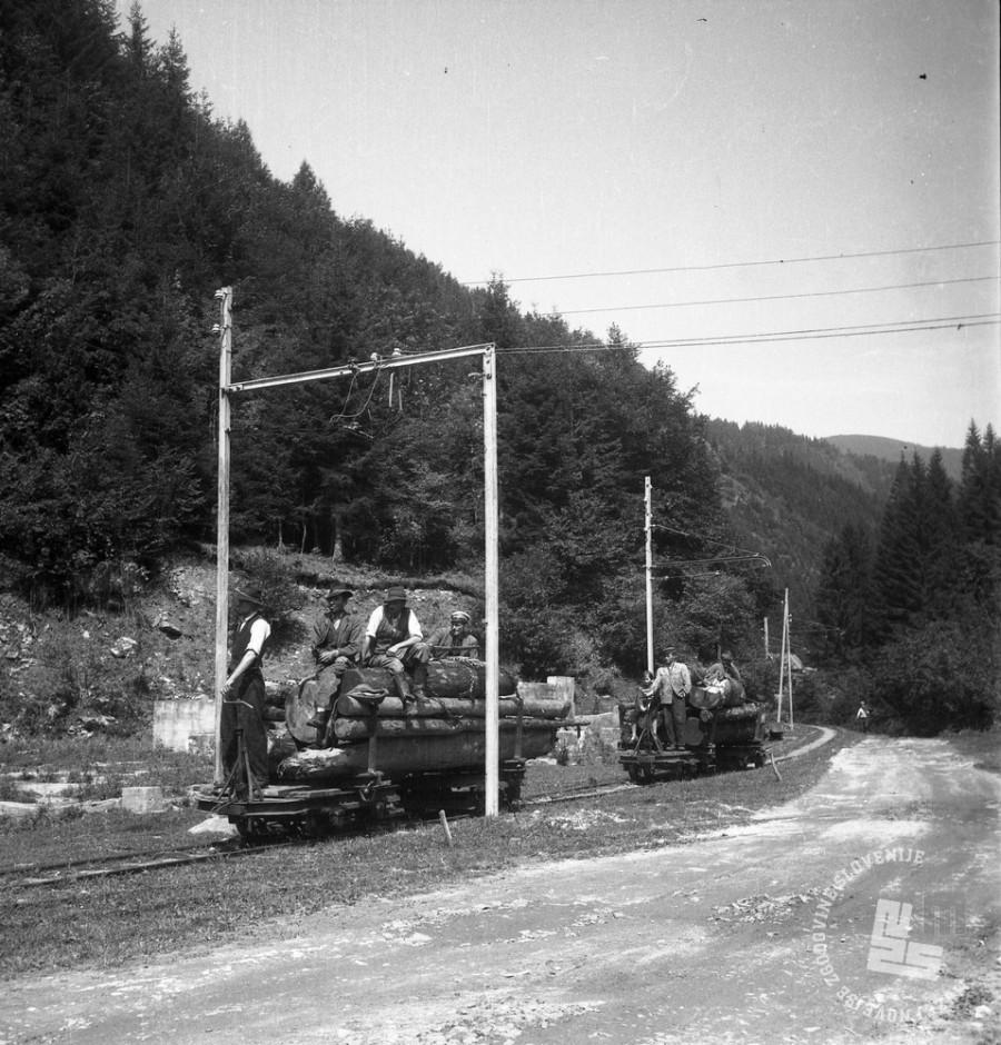 """DE1403a_24: Gozdni delavci """"žlajfarji"""" pri spuščanju po gozdni železnici v Mislinji. Leto 1957. Foto: Dušan Gostinčar."""