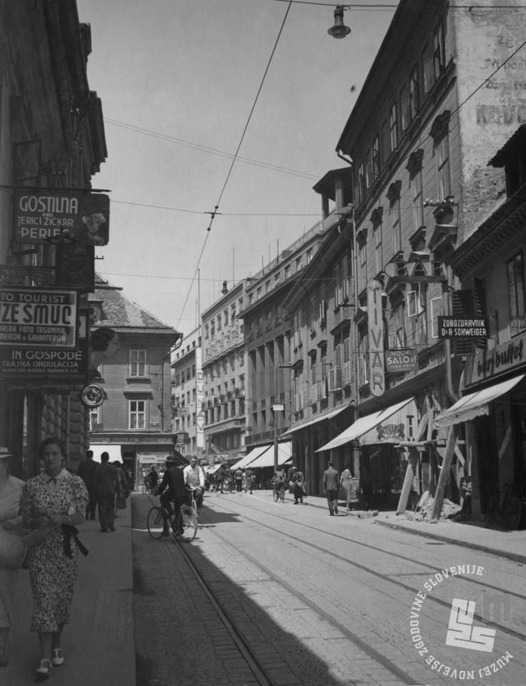 Slk 1-624: Čopova ulica v Ljubljani, obdobje med obema svetovnima vojnama. Foto: neznan, hrani: MNZS.