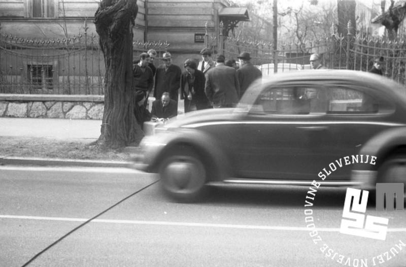 Prešernova cesta v Ljubljani, 4. marec 1968. Foto: Marjan Ciglič.