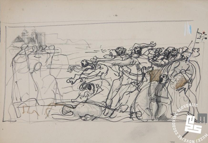 Marij Pregelj, skica za sliko Zaloška 24. 4. 1920, 1961. Hrani: MNZS.