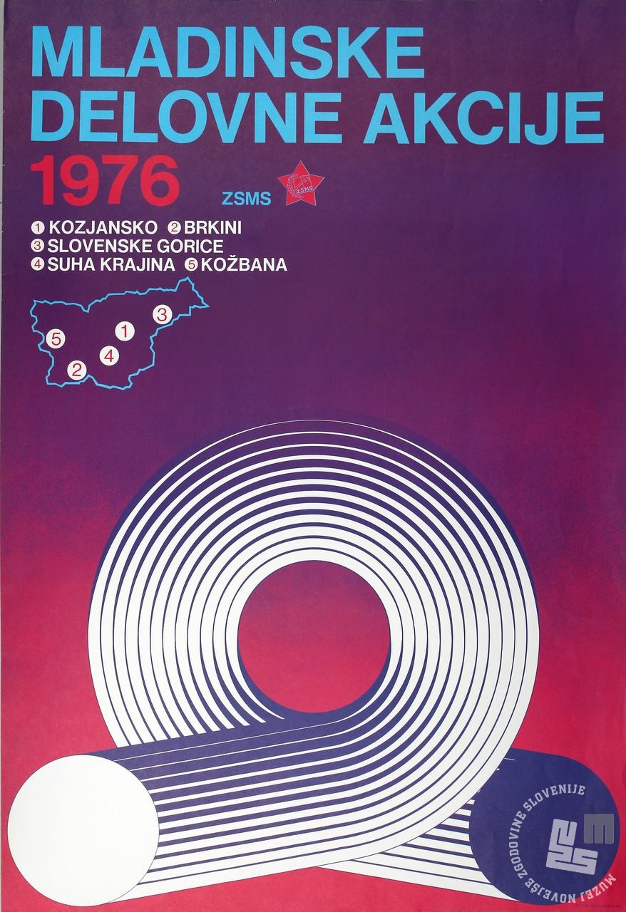 Plakat Mladinskih delovnih akcij 1976. Hrani Muzej novejše zgodovine Slovenije.