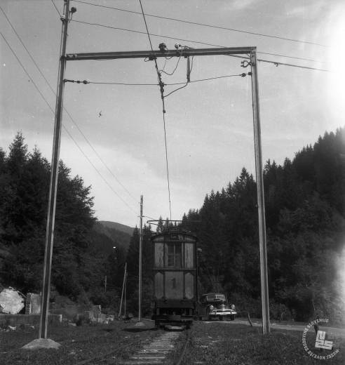 DE1403a_9: Gozdna železnica v Mislinji, leto 1957. Foto: Dušan Gostinčar, hrani: MNZS.