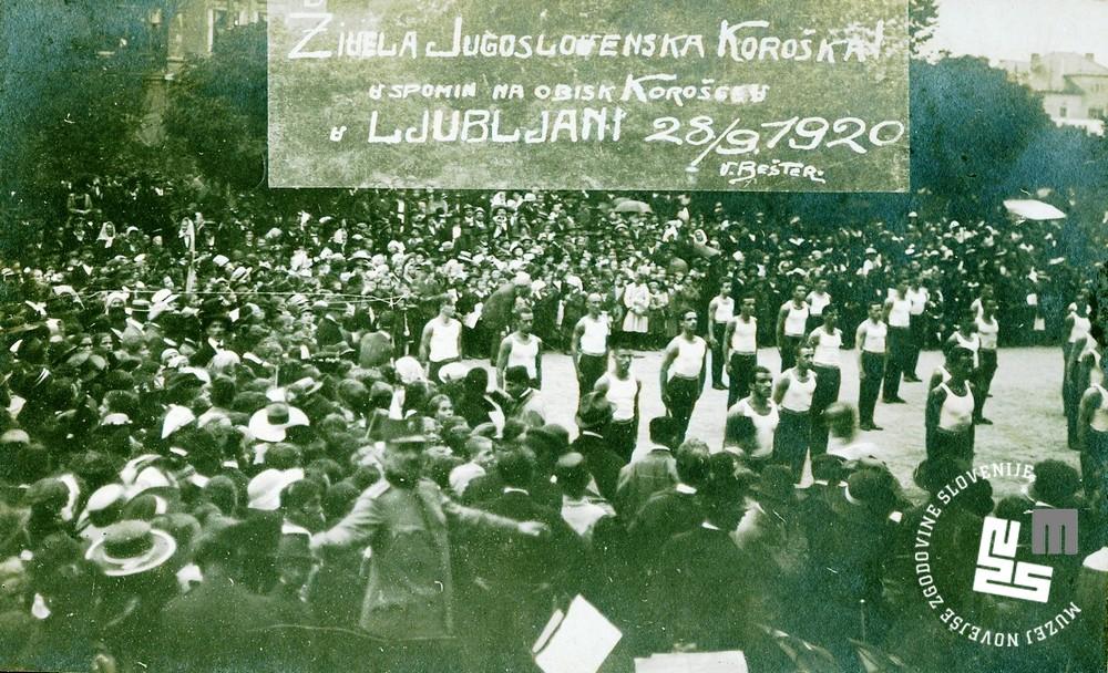 24. Proste vaje ─Źlanov Sokola ob obisku Koro┼íkih Slovencev v Ljubljani 28. septembra 1920 pred plebiscitom