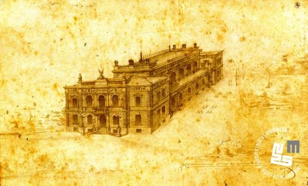 28. Arhitekt Hraski je leta 1889 izdelal na─Źrt sokolskega doma s telovadnico