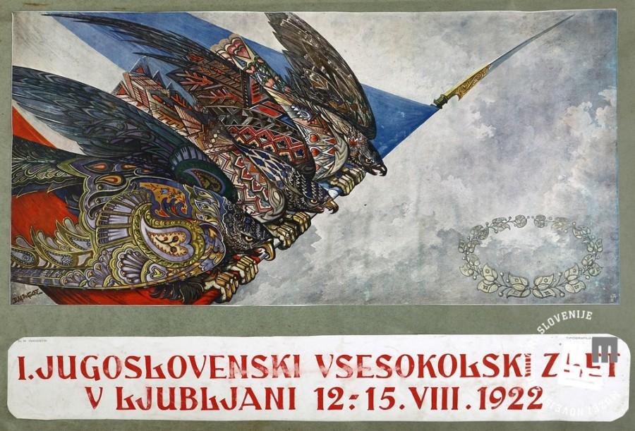 3. Letak sokolske prireditve leta 1922, ko se je odvijal I. jugoslovanski vsesokolski zlet in 7. mednarodno tekmovanje v gimnastiki - svetovno prvenstvo