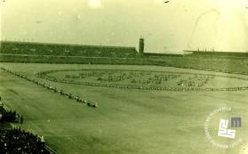 Telovadci na zletu v Pragi julija 1948 med izvajanjem proste vaje na sestavo dr. Viktorja Murnika - praška epopeja. Foto: neznan, hrani MNZS.