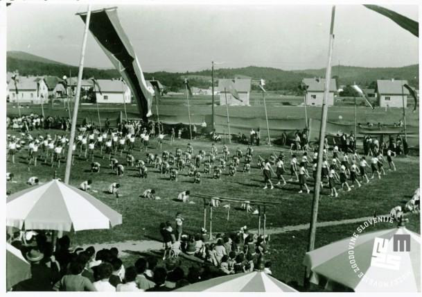 Zlet telovadcev v Dolenjem Logatcu 15. junija 1948. Telovadno društvo v Dolenjem Logatcu je bilo ustanovljeno že 12. julija 1908, 5. avgusta 1923 pa so odprli nov telovadni dom. Proste vaje telovadcev in telovadk na telovadišču. Foto: Tourist, Lojze Šmuc, Ljubljana, hrani MNZS.