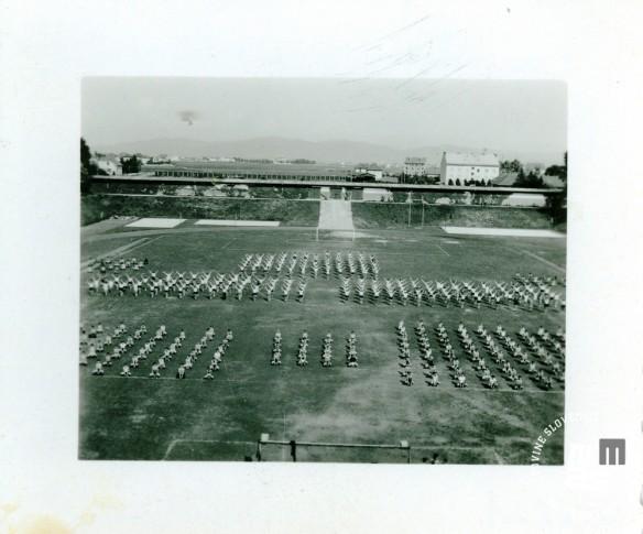 Člani društva Enotnost, v katerem so se združili člani športnih društev Udarnik, Svoboda in Borec, so leta 1947 na telovadišču v Ljubljani vadili nastop za zlet v Beogradu, ki je bil 22. junija 1947. Foto: neznan, hrani MNZS.