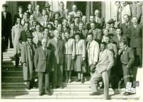 Slovenska delegacija telovadnih društev na skupščini v Beogradu leta 1953. Foto: neznan, hrani MNZS.