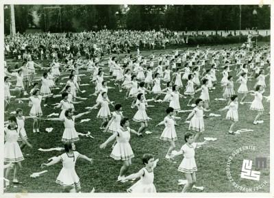 Zaključni nastop pionirk TVD Partizan Ljubljana Narodni dom leta 1954 na tekmi telovadnih društev na letnem telovadišču v Tivoliju. Foto: neznan, hrani MNZS.