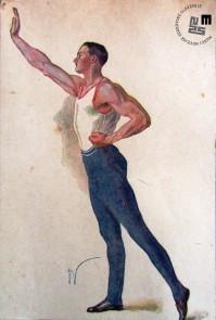 Propagandna razglednica moškega kroja telovadnega sokolskega oblačila. Avtor: Ivan Vavpotič.