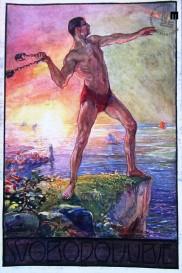 Propagandna razglednica ob III. vsesokolskem zletu v Ljubljani, ki naj bi bil leta 1913, a so ga oblasti prepovedale. Napis SVOBODOLJUBJE. Avtor: Ivan Vavpotič.