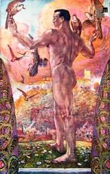 Propagandna razglednica ob III. vsesokolskem zletu v Ljubljani, ki naj bi bil leta 1913, a so ga oblasti prepovedale. Avtor: Ivan Vavpotič.