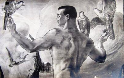 Detajl propagandne razglednice ob III. vsesokolskem zletu v Ljubljani, ki naj bi bil leta 1913, a so ga oblasti prepovedale. Avtor: Ivan Vavpotič.