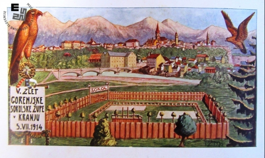 Propagandna razglednica ob V. zletu Sokolov Gorenjske sokolske župe, ki je bil v Kranju 5. julija 1914. Avtor: neznan.