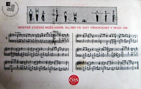 18. Propagandna razglednica s himno ob VII. vsesokolskem zletu v Pragi, ki je bil 13. januarja 1920. Avtor: neznan.