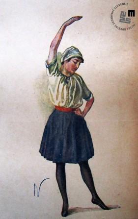 Propagandna razglednica ženskega kroja telovadnega sokolskega oblačila. Avtor: Ivan Vavpotič.