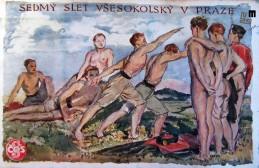 Propagandna razglednica ob VII. vsesokolskem zletu v Pragi, ki je bil 13. januarja 1920. Avtor: neznan.