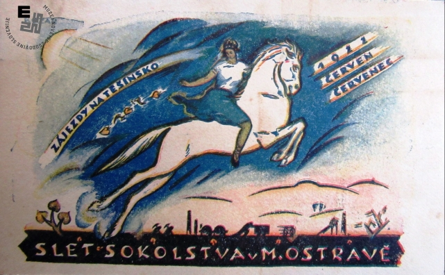 Propagandna razglednica ob zletu Sokolov v M. Ostravi na Češkem julija 1922. Avtor: neznan.