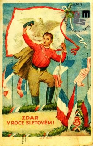 Dopisnica izdana ob VIII. vsesokolskem zletu v Pragi leta 1926. Dopisnica je bila poslana iz Prage tajniku Jugoslovanske Sokolske zveze. Avtor: neznan.