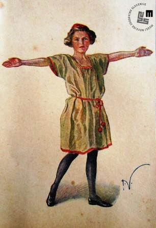 Propagandna razglednica kroja telovadnega sokolskega oblačila za žensko deco. Avtor: Ivan Vavpotič.