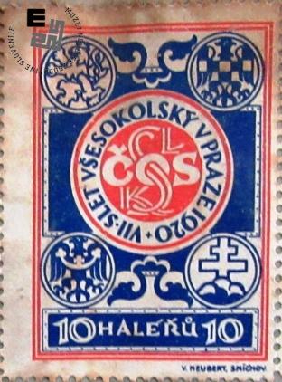 Znamka izdana ob VII. vsesokolskem zletu v Pragi, ki je bil 13. januarja 1920. Znamke so bile natisnjene v tiskarni V. Neubert Smichov v Pragi. Znamke so v vrednosti 10 halerjev. (1 krona je 100 halerjev). Avtor: neznan.