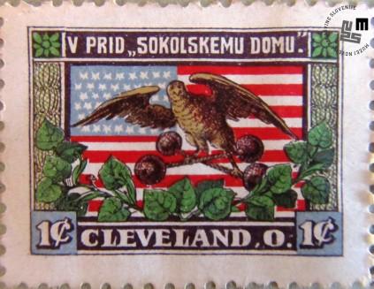 Znamka izdana v prid Sokolskega doma v Clevelandu, Ohio. Znamke so v vrednosti 1 dolarja. Avtor: neznan.
