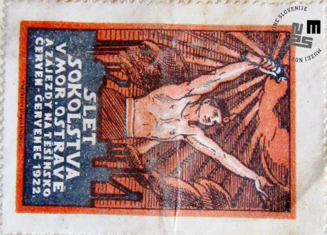 Znamka izdana ob zletu Sokolov v M. Ostravi na Češkem julija 1922. Znamke so bile natisnjene v tiskarni V. Neubert. Avtor: neznan.