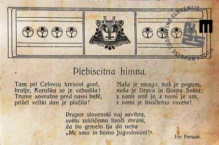 Plebiscitna himna, ki jo je leta 1920 ob plebiscitu napisal Ivo Peruzzi.
