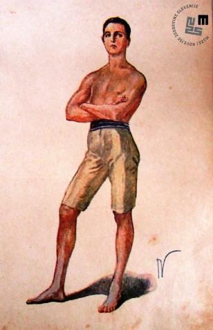 Propagandna razglednica kroja telovadnega sokolskega oblačila za moško deco. Avtor: Ivan Vavpotič.