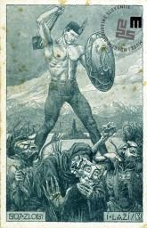 Propagandna razglednica z likom Sokola z mečem, ki je močan in bojevit in se bori proti zlobi in lažem. Na razglednici je napis BOJ ZLOBI I LAŽI. Avtor: neznan.
