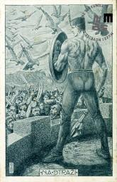 Propagandna razglednica z likom Sokola z mečem. Stoji ob obzidju, izpod njega so ljudje z meči, po zraku pa krožijo ptice sokoli. Napis na razglednici NA STRAŽI. Avtor: neznan.