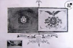 Razglednica sokolskega prapora Telovadnega društva Sokol v Brežicah. Razvitje prapora je bilo leta 1906. Avtor: neznan.