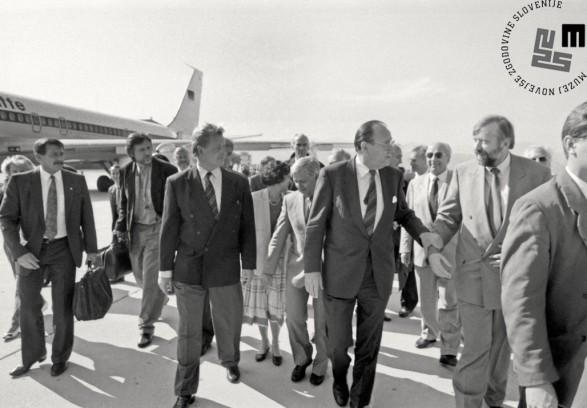 Srečanje slovenskega političnega vrha z nemškim zunanjim ministrom Genscherjem, 2. 7. 1991.