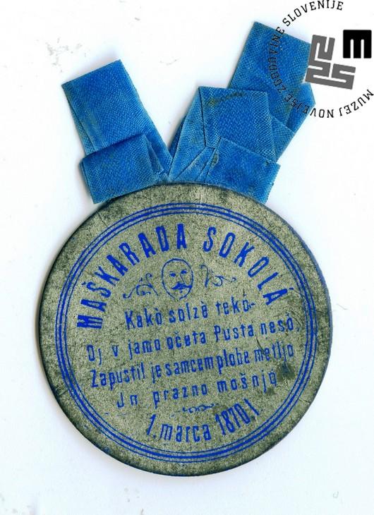 Vstopnica na maškarado Sokolov, ki je bila v Ljubljani 1. marca 1870. Avtor: neznan.