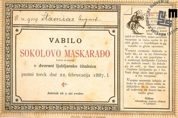 Vabilo na maškarado Sokolov, ki je bila v Ljubljani 22. februarja 1887 v prostorih Ljubljanske čitalnice. Naslovnik vabila je Štamcar Avgust. Avtor: neznan.