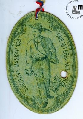 Vstopnica na maškarado Sokolov, ki je bila v Ljubljani 18. februarja 1890. Avtor: neznan.