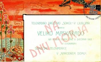 """Vabilo na maškarado telovadnega društva Sokol, ki je bila v Ljubljani 11. februarja 1902 v dvorani sokolske telovadnice v Narodnem domu. Maškarada se je odvijala pod naslovom """"Na dnu morja"""". Avtor: neznan."""