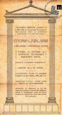 """Vabilo na maškarado telovadnega društva Sokol, ki je bila v Ljubljani 28. februarja 1911 v sokolski telovadnici Narodnega doma. Maškarada se je odvijala pod naslovom """"Emona-Ljubljana"""". Natisnila Narodna tiskarna Ljubljana. Avtor: neznan."""