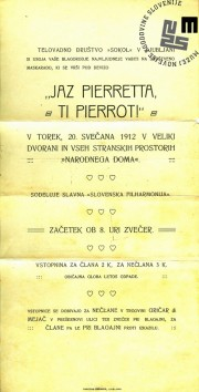 """Vabilo na maškarado telovadnega društva Sokol, ki je bila v Ljubljani 20. februarja 1912 v veliki dvorani in vseh stranskih prostorih Narodnega doma. Maškarada se je odvijala pod naslovom """"Jaz Pierretta, ti Pierrot"""". Natisnila Narodna tiskarna Ljubljana. Avtor: neznan."""