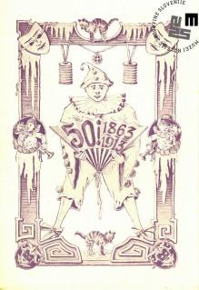 """Vabilo na maškarado telovadnega društva Sokol, ki je bila v Ljubljani 4. februarja 1913 v Narodnem domu. Maškarada se je odvijala pod naslovom """"Jubilejna maškarada"""". Natisnila Narodna tiskarna Ljubljana. Avtor: neznan."""
