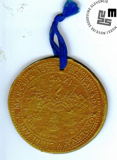 Vstopnica za maškarado Sokolov, ki je bila v Ljubljani 5. marca 1878. Avtor: neznan.