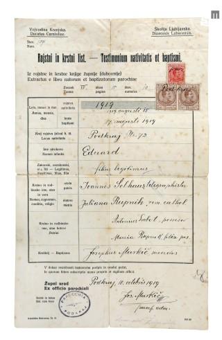 Rojstni in krstni list Edija (Edvarda) Šelhausa, izdan v Podkraju 10. oktobra 1919.