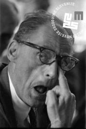 Ameriški dramatik Arthur Miller si iz očesa skuša izbezati mušico, Bled, 3. julij 1965.